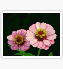 Modern Stylized Pink Zinnias Silk Screen Sticker
