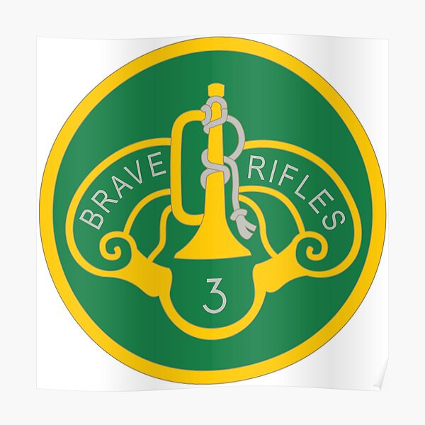 """US ARMY 3rd Armored Cavalry Regiment Patch /""""Brave Rifles/"""" Green Black Surplus"""