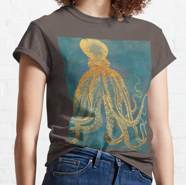Deep Sea Life II Golden Octopus, marine texture Classic T-Shirt