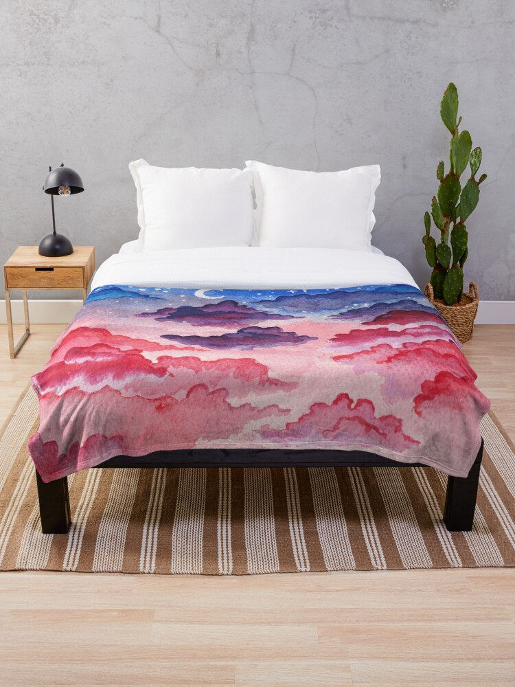Pastel Clouds Aesthetic Landscape Vaporwave Stars Fluffy Pink Sky Galaxy Stars Throw Blanket By Dewbertco Redbubble