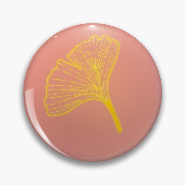 Gold ginkgo leaf design/pink Pin