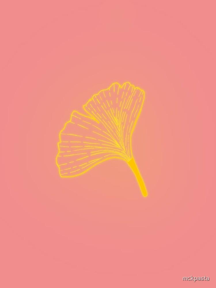 Gold ginkgo leaf design/pink by mckpasta