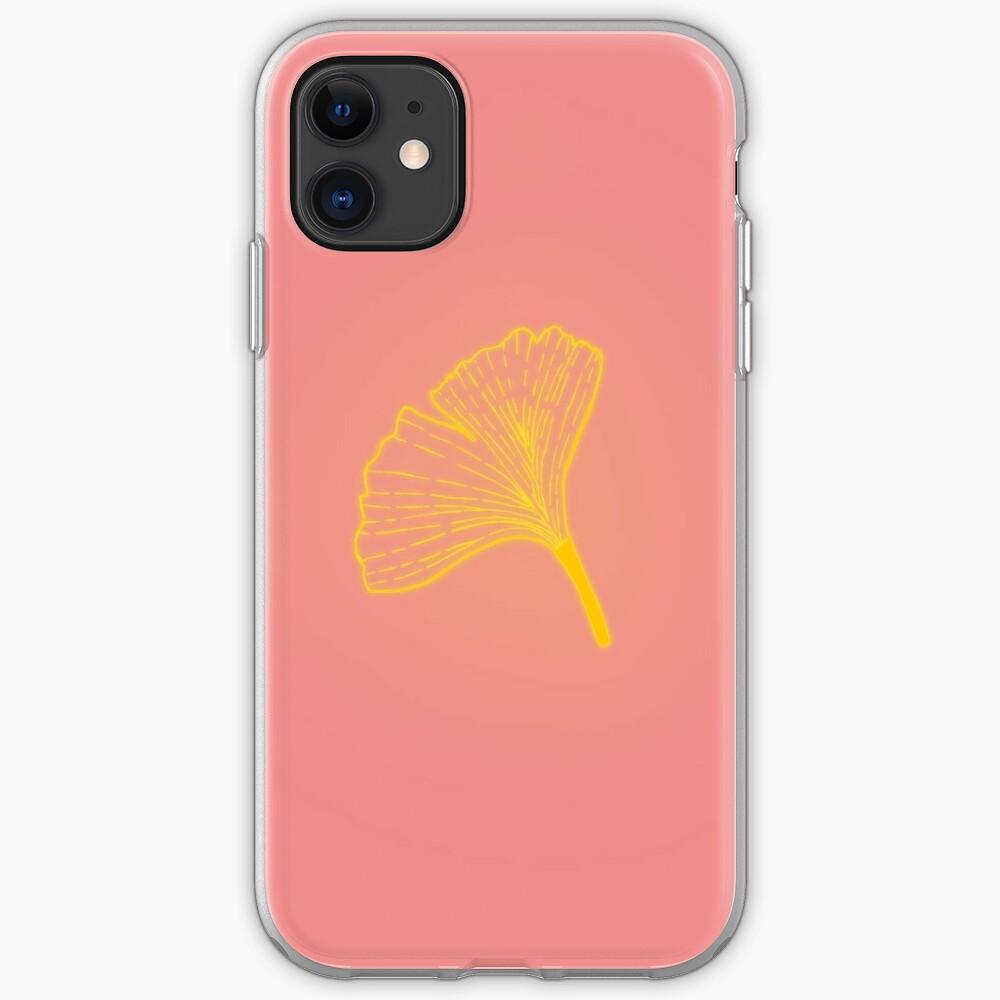 Gold ginkgo leaf design/pink iPhone Case & Cover