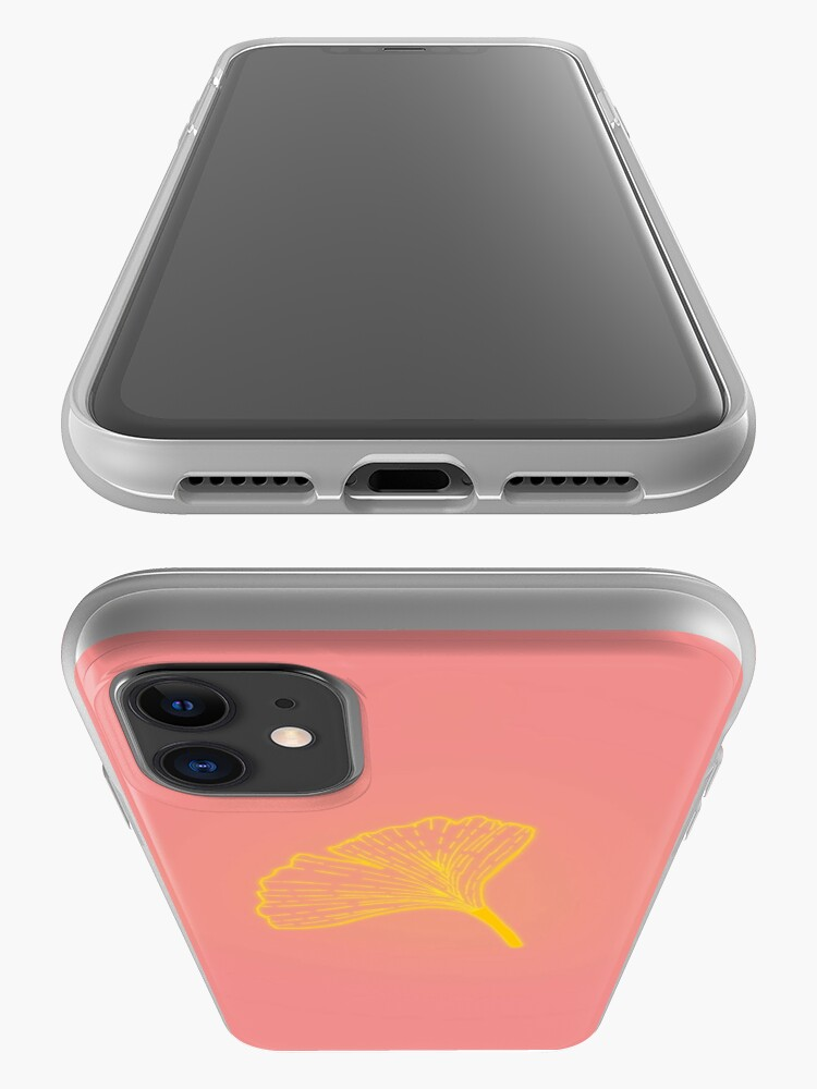 Alternate view of Gold ginkgo leaf design/pink iPhone Case & Cover