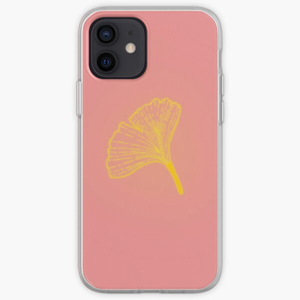 Gold ginkgo leaf design/pink iPhone Soft Case