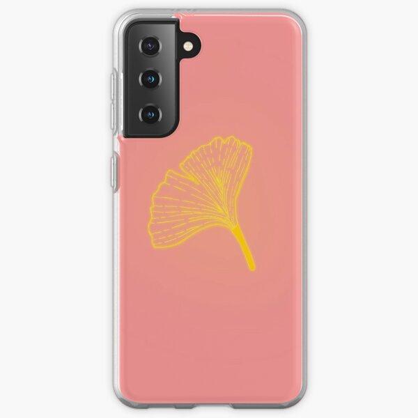 Gold ginkgo leaf design/pink Samsung Galaxy Soft Case