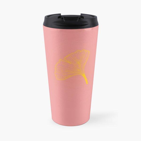 Gold ginkgo leaf design/pink Travel Mug