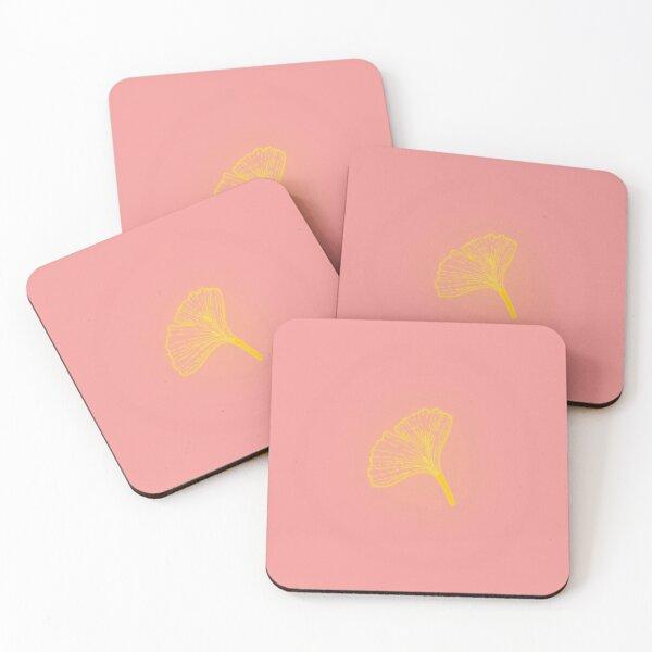 Gold ginkgo leaf design/pink Coasters (Set of 4)
