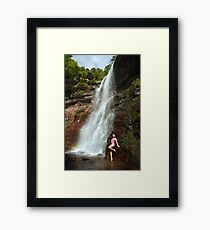 Young sexy beautiful girl stands at nature waterfall location 1 Framed Print