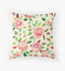 Pastel Roses in Blush Pink and Cream Throw Pillow