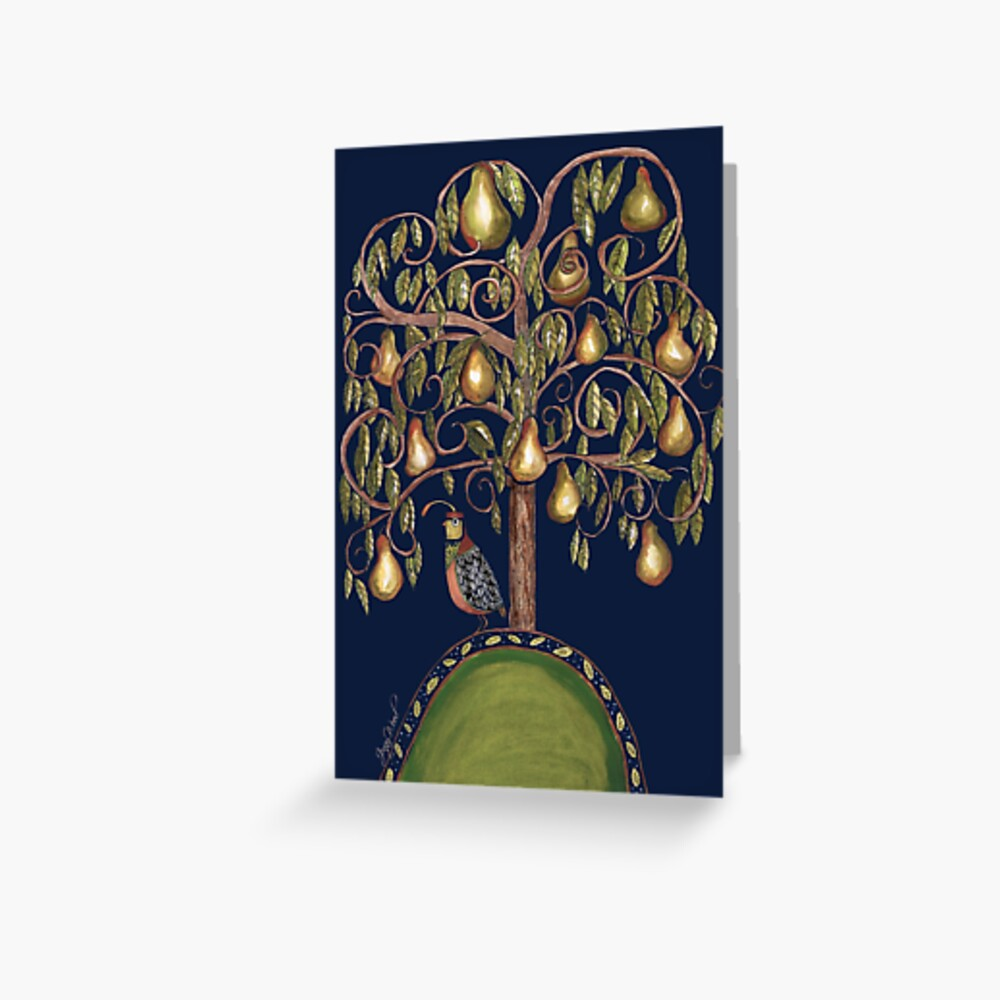 Isolating partridge under a pear tree Greeting Card