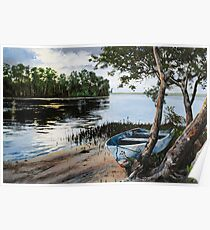 "Original oil painting: ""Dusk at Wallis Lake"" - Forster, NSW, Australia Poster"