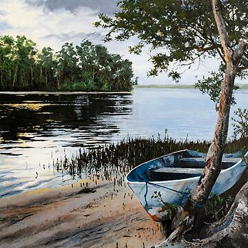 "Original oil painting: ""Dusk at Wallis Lake"" - Forster, NSW, Australia by MartinLome"