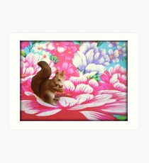 Squirrel. Flower. Art Print