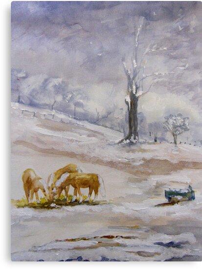Palominos in Snow by Shoshonan