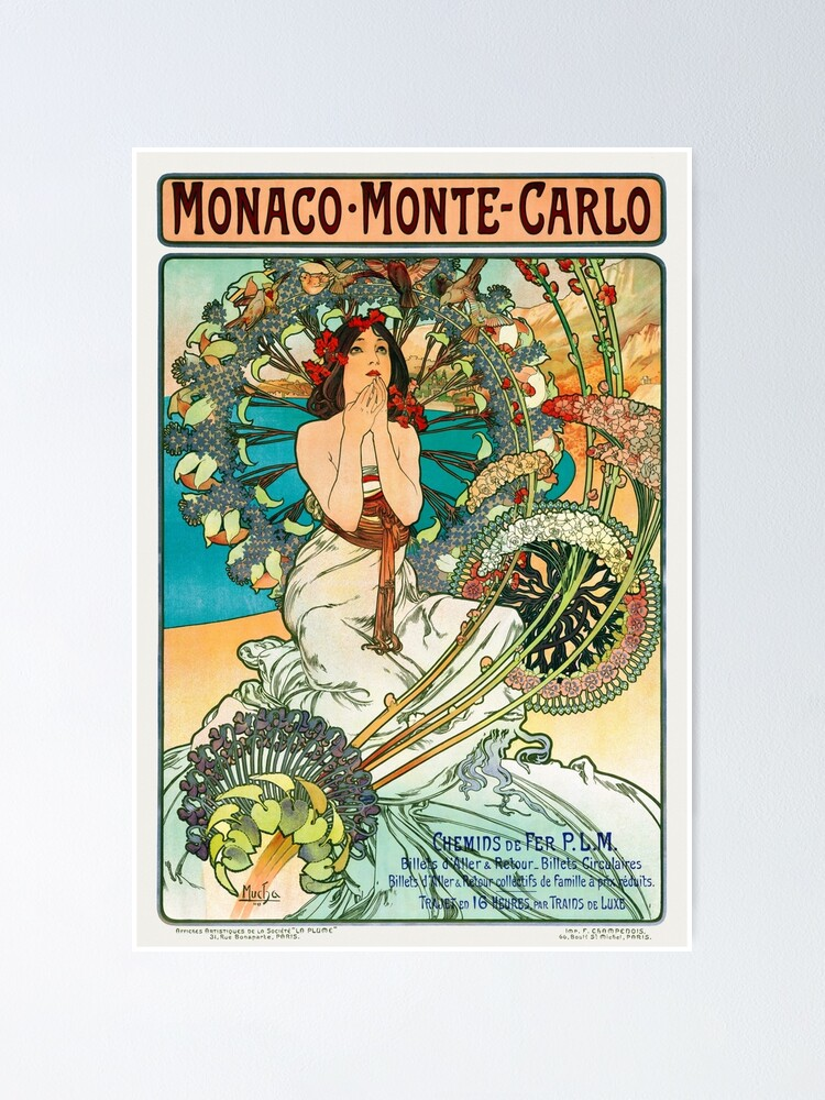 Alternate view of Monaco Monte Carlo Vintage Travel Poster Restored 1897 Poster