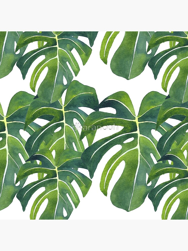 Monstera deliciosa Watercolor Painting Background Pattern by dkaranouh