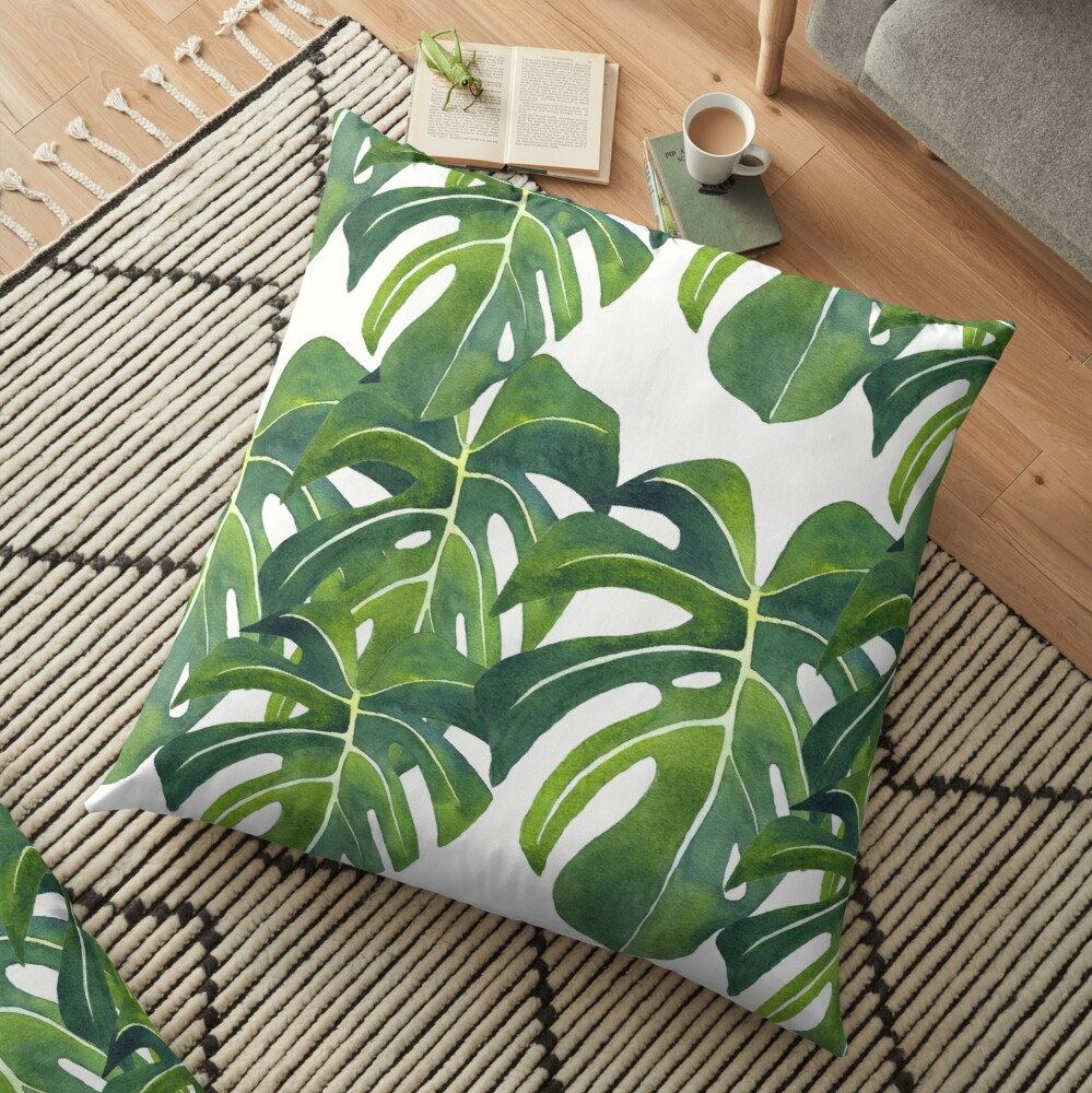 Monstera deliciosa Watercolor Painting Background Pattern Floor Pillow