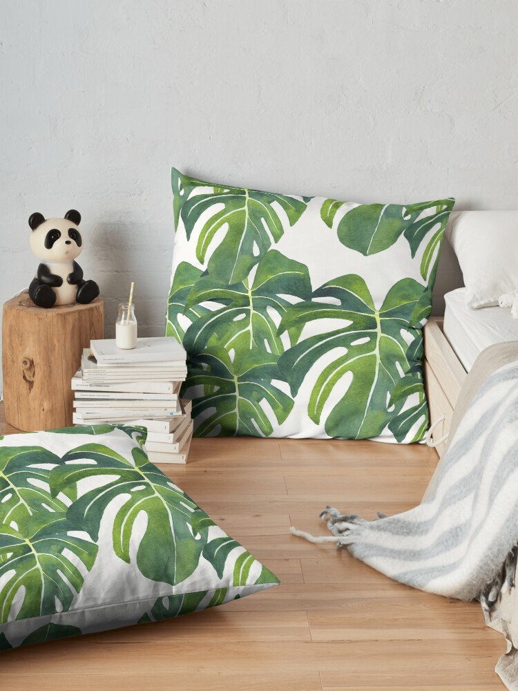 Alternate view of Monstera deliciosa Watercolor Painting Background Pattern Floor Pillow