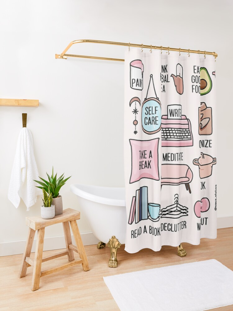 Alternate view of Keep it positive by Sasa Elebea Shower Curtain