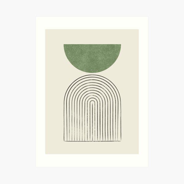Arch Balance Green - Mid century modern Art Print