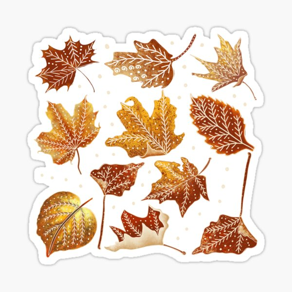 Leaves pattern outlined with white/autumn pattern  Sticker