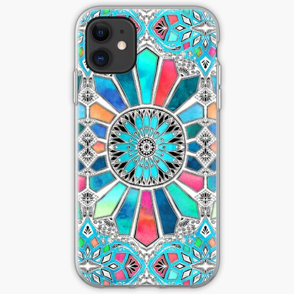 Iridescent Watercolor Brights on White iPhone Soft Case