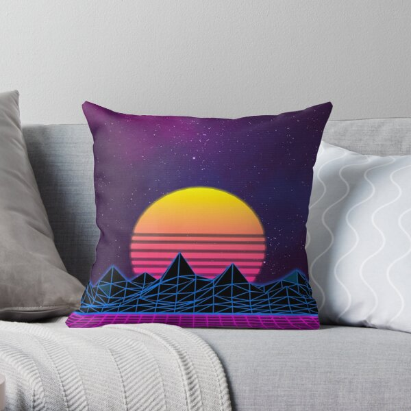 Synthwave Mountains Throw Pillow