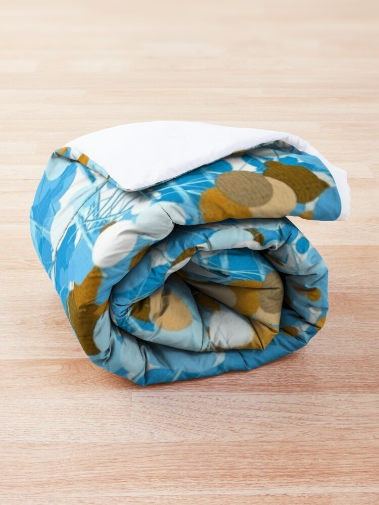 Alternate view of Gold Blue Abstract Dotted Tree Comforter