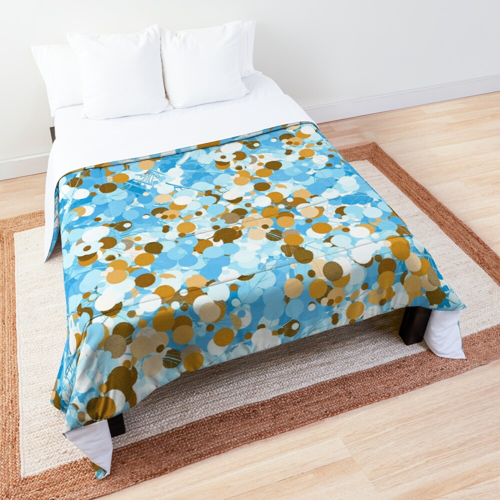 Gold Blue Abstract Dotted Tree Comforter