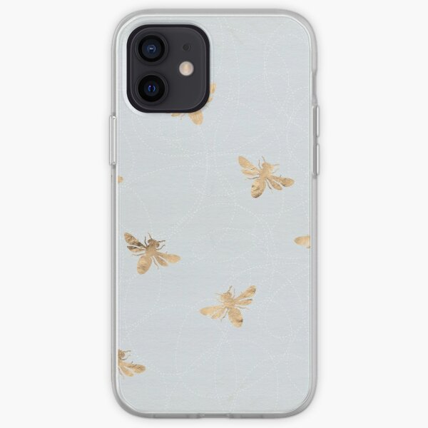 Rose Gold Bees Pattern iPhone Soft Case