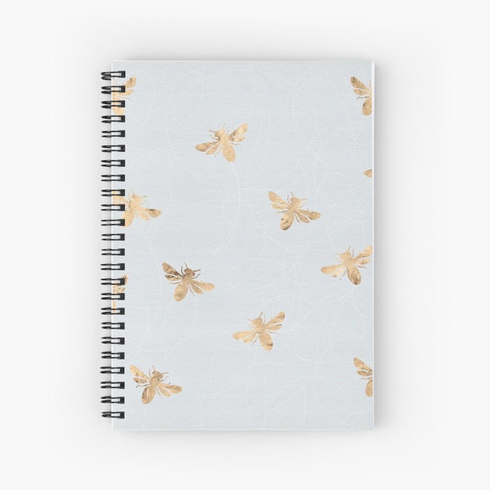 Rose Gold Bees Pattern Spiral Notebook