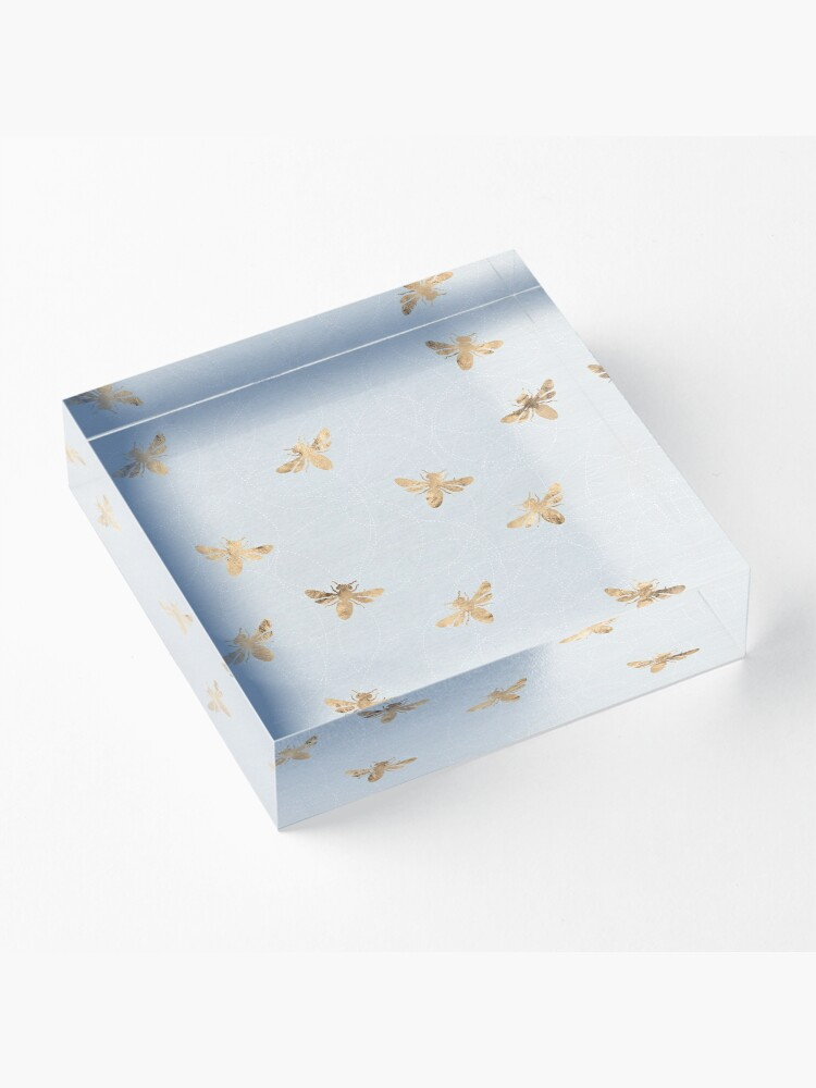 Alternate view of Rose Gold Bees Pattern Acrylic Block