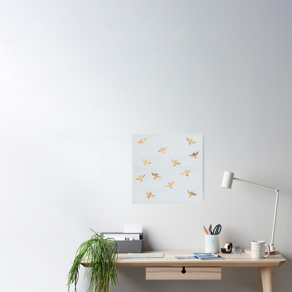 Rose Gold Bees Pattern Poster