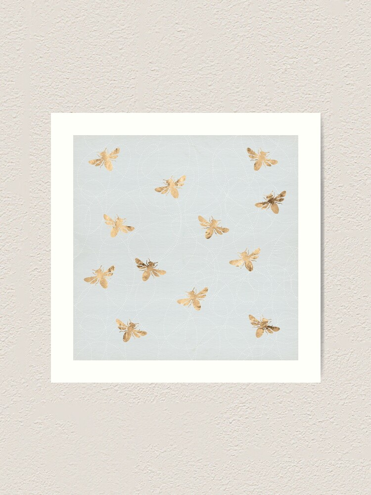 Alternate view of Rose Gold Bees Pattern Art Print