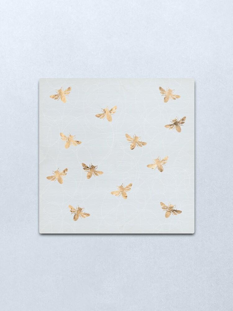 Alternate view of Rose Gold Bees Pattern Metal Print