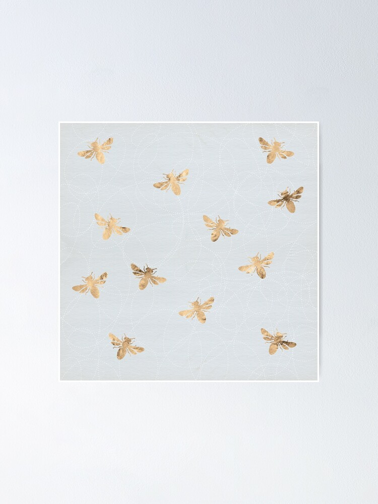Alternate view of Rose Gold Bees Pattern Poster