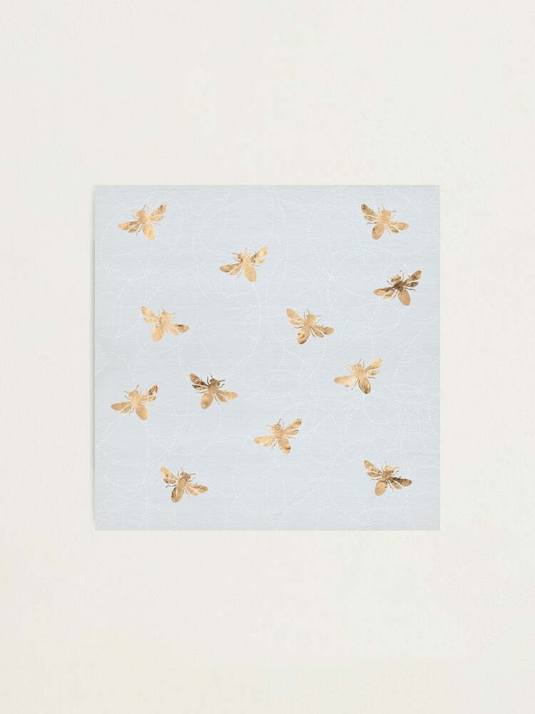 Alternate view of Rose Gold Bees Pattern Photographic Print