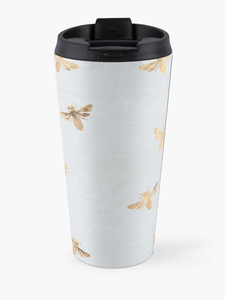 Alternate view of Rose Gold Bees Pattern Travel Mug