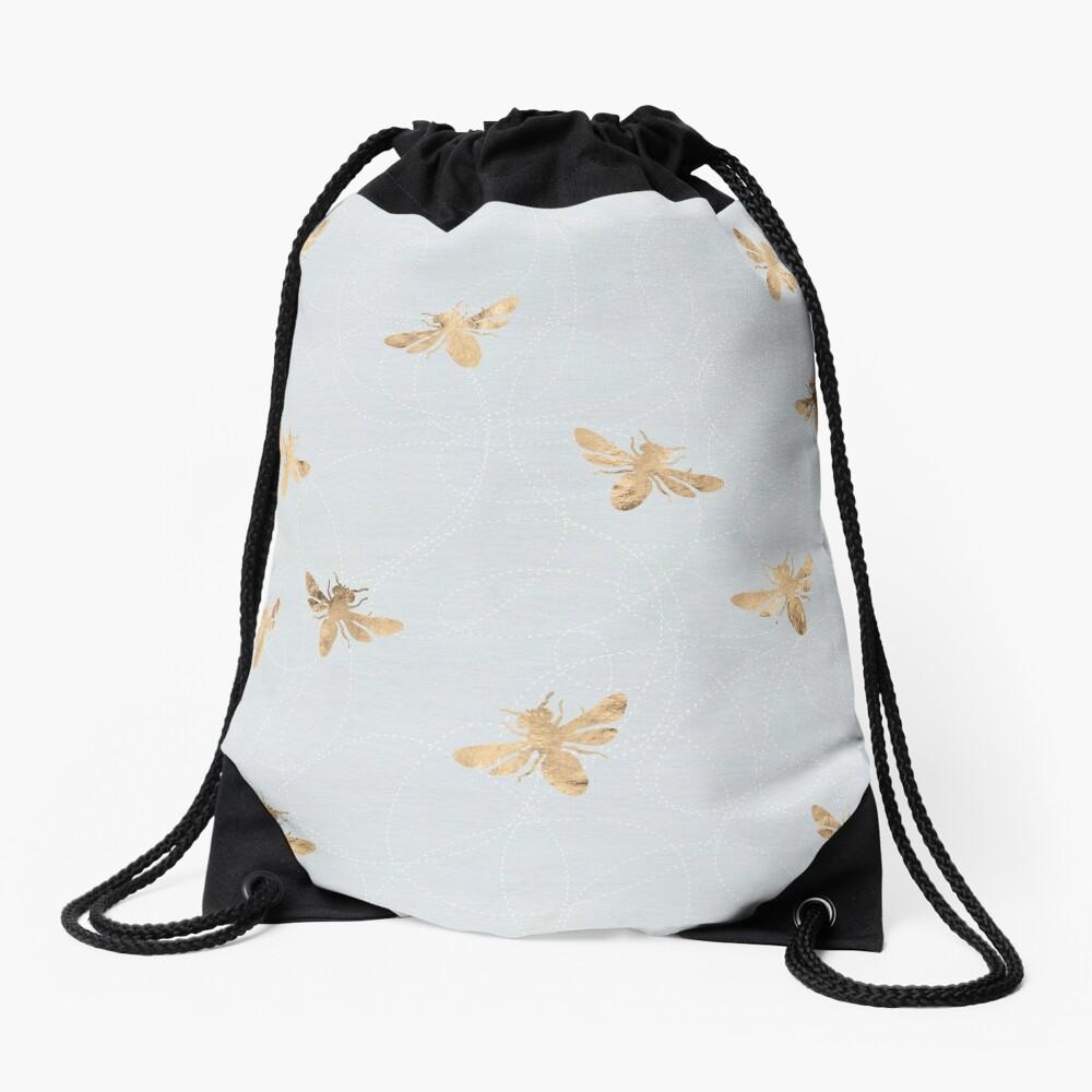Rose Gold Bees Pattern Drawstring Bag