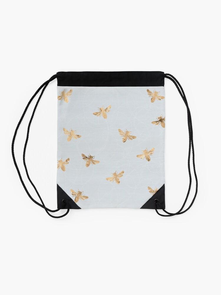 Alternate view of Rose Gold Bees Pattern Drawstring Bag
