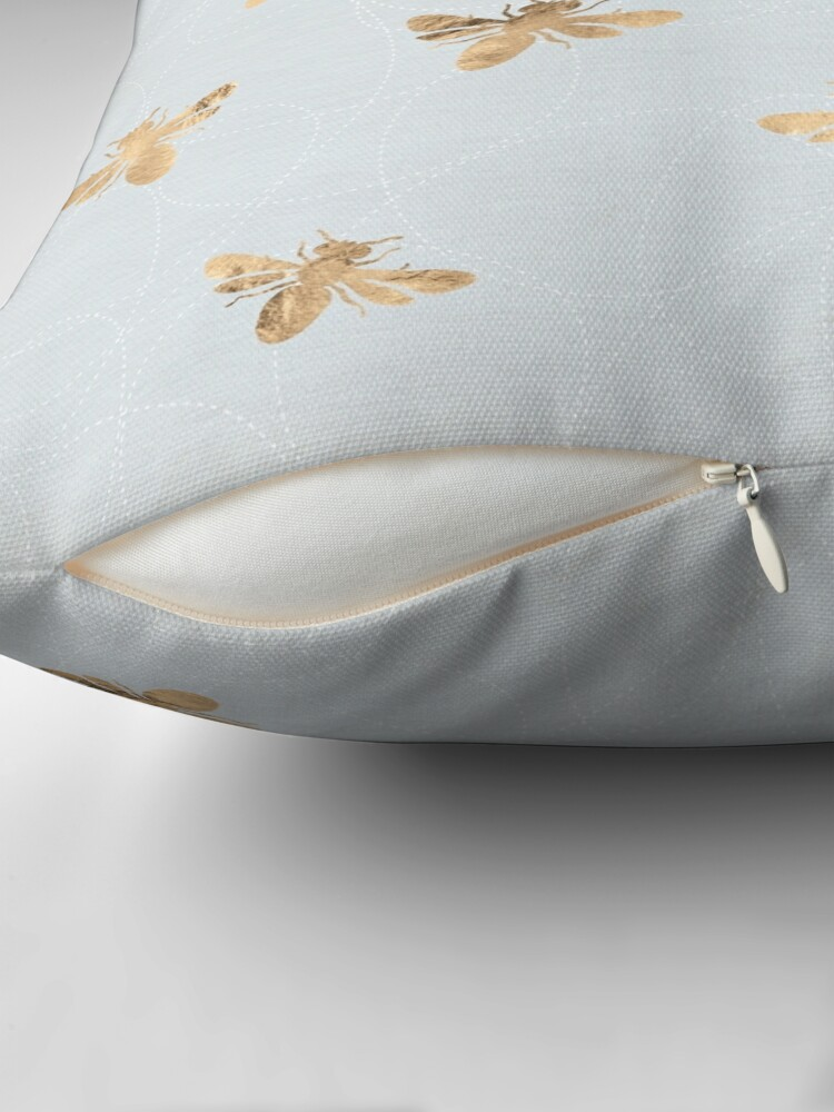 Alternate view of Rose Gold Bees Pattern Throw Pillow