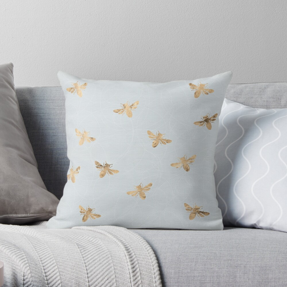Rose Gold Bees Pattern Throw Pillow