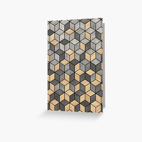 Concrete and Wood Cubes Greeting Card