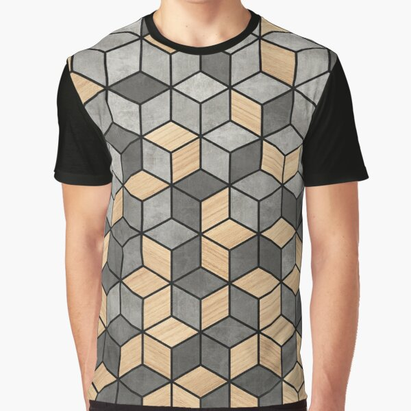 Concrete and Wood Cubes Graphic T-Shirt