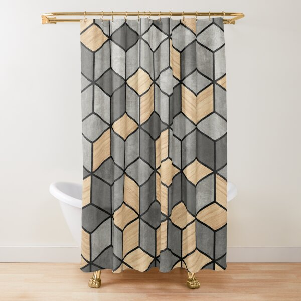 Concrete and Wood Cubes Shower Curtain