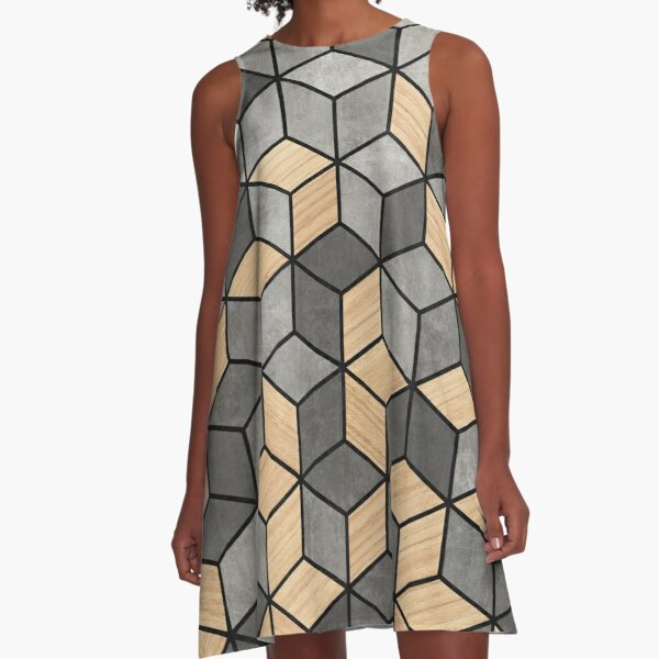 Concrete and Wood Cubes A-Line Dress