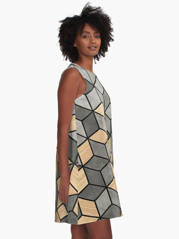 Alternate view of Concrete and Wood Cubes A-Line Dress