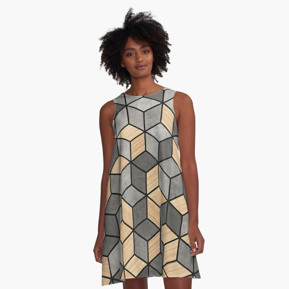 Concrete and Wood Cubes A-Line Dress