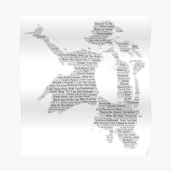 Silueta de canciones de Michael Jackson Póster